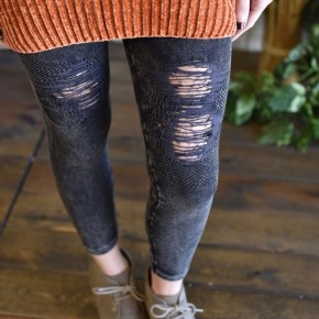 Charcoal Vintage Destroyed Jeggings