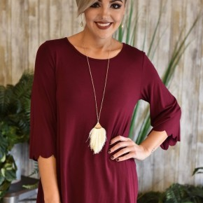 Burgundy Scallop Top