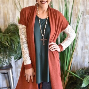 Marsala Lace Sleeve Cardigan