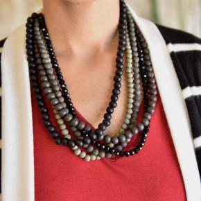 Black Beaded Collar Statement Necklace