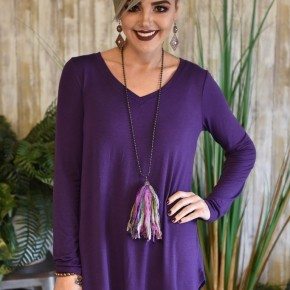 Dark Purple V Neck L/S Round Hem Top