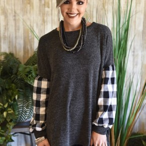 Black Plaid Balloon Sleeve Tunic