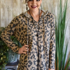 Taupe L/S Leopard Hoodie