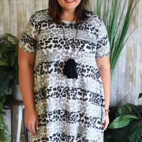 CLEARANCE Grey Leopard Dress
