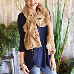 Khaki Lightweight Knitted Scarf