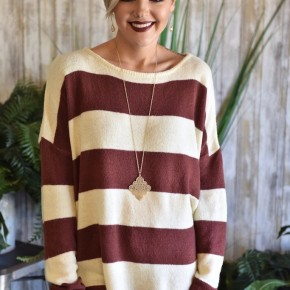 Faded Plum Striped Sweater