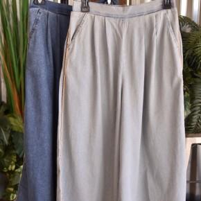 Denim Wide Leg Frayed Pants