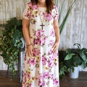 Ivory & Purple Floral High Lo Dress