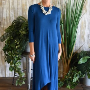 Teal 3/4 Sleeve High Lo Maxi Dress