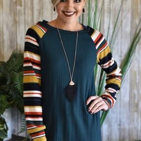 Hunter Green Stripe Raglan Sweater