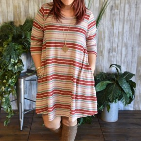Taupe Striped Sweater Dress