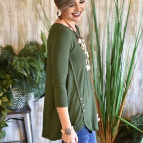 Army Green 3/4 Sleeve Side Button Top