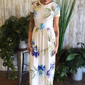 Ivory Mixed Floral Maxi Dress