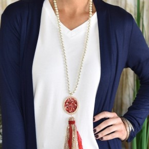 Red Pearl Statement Necklace