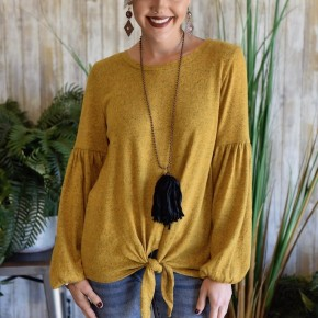 Mustard Puff Sleeve Sweater