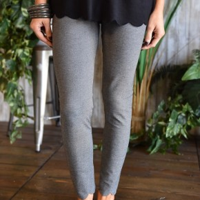 Charcoal Scalloped Skinny Pants