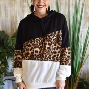 Leopard Colorblock Hoodie