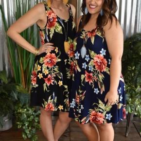 Floral Sleeveless Swing Dress