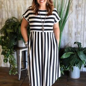 Black Striped Midi Dress