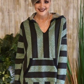 CLEARANCE Green L/S Striped Hoodie