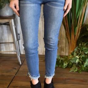 L & B Mid Rise Curved Hem Ankle Skinny Jeans
