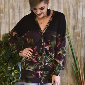 CLEARANCE Purple Floral Button Down Sweater