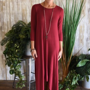 Burgundy 3/4 Sleeve High Lo Maxi Dress