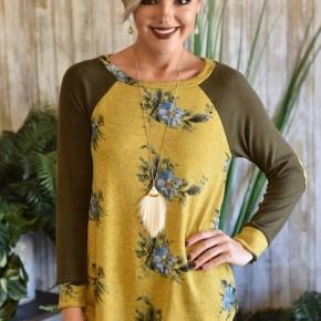 Mustard Floral Hacci Raglan