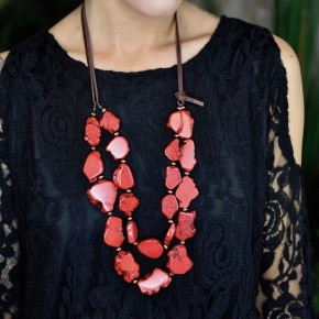 Chunky Red Stone Necklace