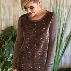 Mocha Sequin Sweater Top