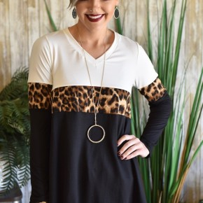 Leopard Colorblock V Neck Tunic