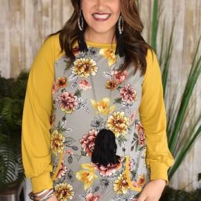 CLEARANCE Mustard Floral Raglan Tunic
