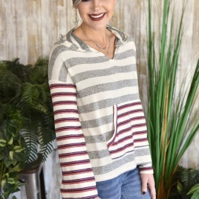 CLEARANCE! Heather Grey L/S Striped Hoodie