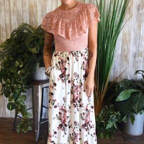 Mauve Lace Top Maxi Dress
