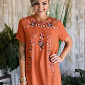 Terracotta Embroidered Tunic