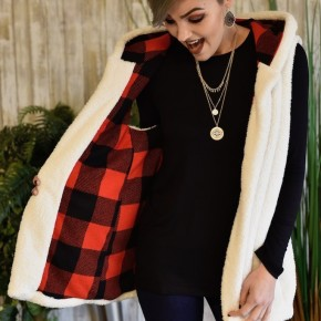 Ivory & Red Reversible Fuzzy Vest