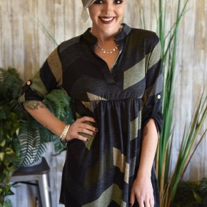 Olive Chevron Tab Sleeve Tunic
