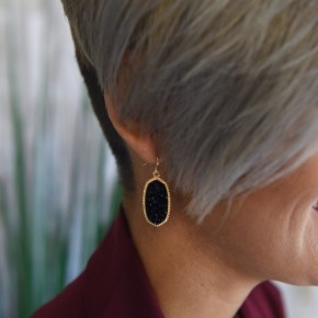 Black Oval Druzy Earrings