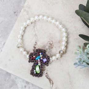 Ornate Stone Cross Stretch Bracelet