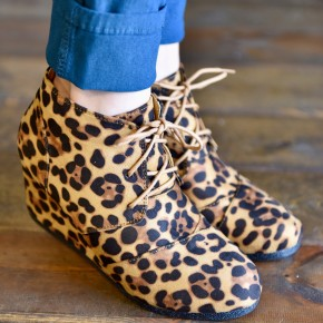 Leopard Laced Up Booties