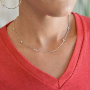 Silver Dainty Gems Necklace