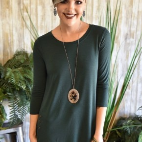 Hunter Green 3/4 Sleeve Side Button Top