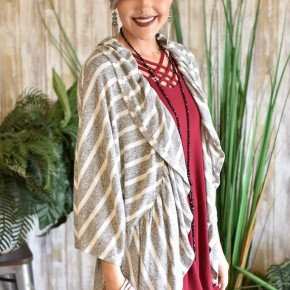 Heather Grey Striped Ruffled Edge Cardigan