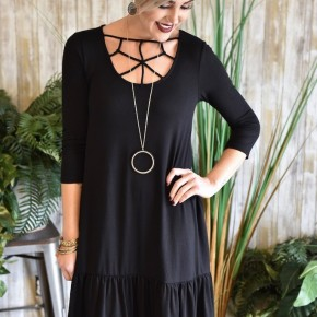 Black 3/4 Sleeve Caged Ruffle Dress