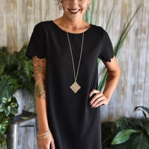 CLEARANCE Black Scalloped Dress