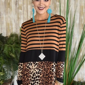 Black Leopard & Stripes L/S Top