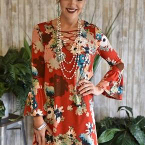 Rust Criss Cross Floral Dress