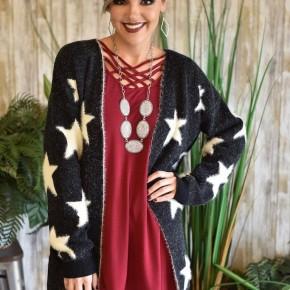 Black Starry Knit Cardigan