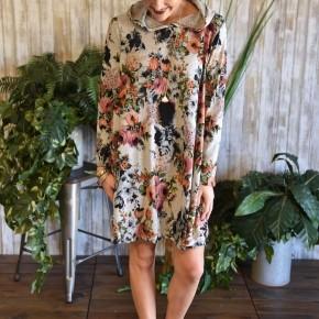 Grey Floral Hoodie Dress