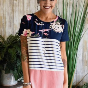 CLEARANCE Navy Floral Colorblock Top